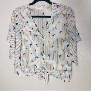 Sienna Sky  | Bird Print Button down front tie top